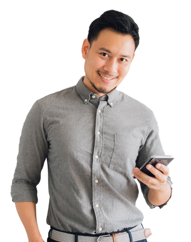 1(Opportunity - Entrepreneur - Funding Program) happy-smile-face-handsome-asian-man-use-smartphone-stand-isolated-gray-background-01.png